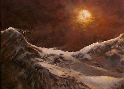 Winter Scene Artists Painting - Moonscape by Tom Shropshire