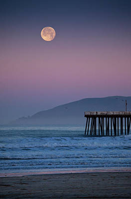 Moonset At Pismo Beach Print by Mimi Ditchie Photography