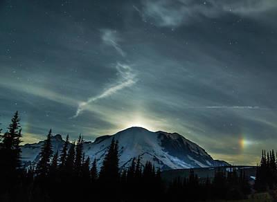 Moonset On Mt. Rainier Print by Angie Vogel