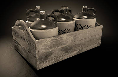 Moonshine In Wooden Crate Print by Allan Swart