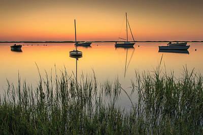 Moored Boats At Sunrise Print by Dapixara Art