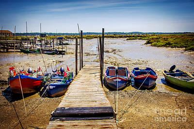 Moored Fishing Boats Print by Carlos Caetano