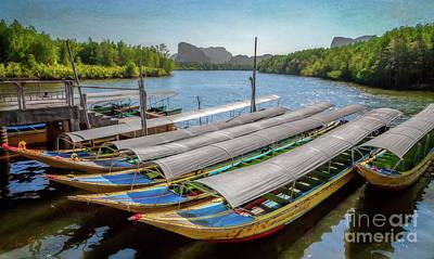 Moored Longboats Print by Adrian Evans