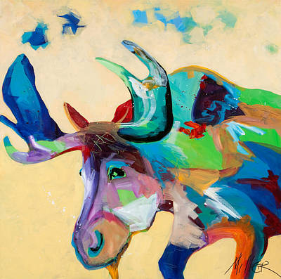 Moose And Blue Clouds Print by Tracy Miller