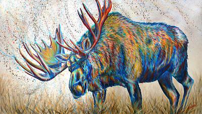 Bull Painting - Moose Rut by Teshia Art