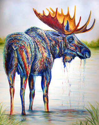 Abstract Wildlife Painting - Moose Sighting by Teshia Art