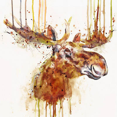 Square Size Digital Art - Moose Watercolor by Marian Voicu
