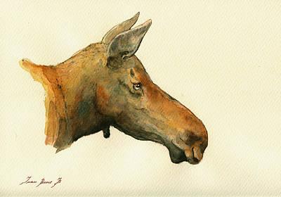 Moose Watercolor Painting. Original by Juan  Bosco