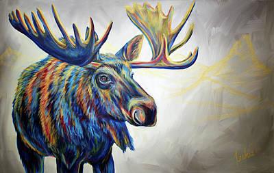 Painting - Moose'n Around by Teshia Art