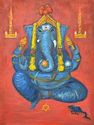 Vinayaka Painting - Mooshika Vaahan by Usha Shantharam