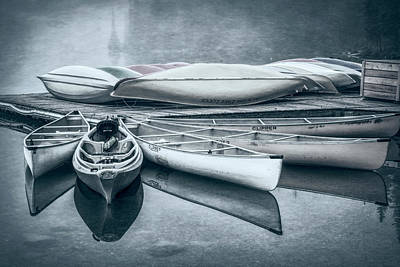 Canoes Photograph - Moraine Lake Canoes Desaturated by Joan Carroll
