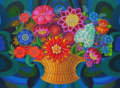 In Bloom Painting - More Blooms In A Basket by Jane Tattersfield