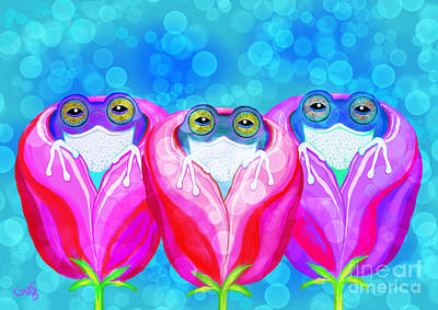 Painting - More Rose City Rain Frogs by Nick Gustafson