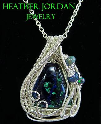 Sterling Silver Wrapped Pendant Jewelry - Morenci Azurite Malachite And Sterling Silver Wire Wrapped Pendant With Ethiopian Opals Mmassp2 by Heather Jordan