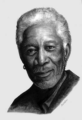 Morgan Freeman Charcoal Portrait Print by Richelle Siska