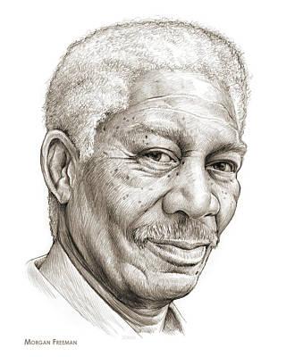 American Actor Drawing - Morgan Freeman by Greg Joens