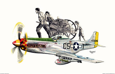 Warbird Mixed Media - Mormon Mustang - Pioneering History by Trenton Hill