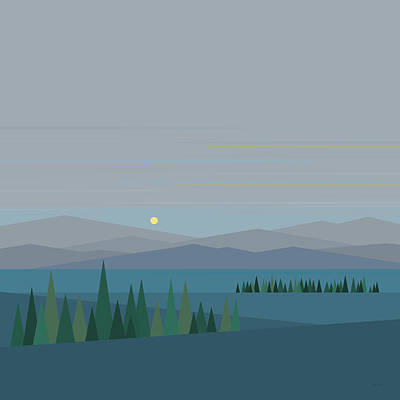 Minimalist Landscape Digital Art - Morning Blues by Val Arie