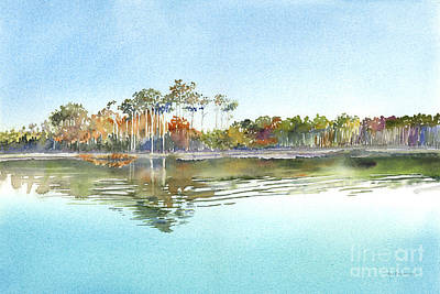 Reflections In River Painting - Morning Calm by Amy Kirkpatrick
