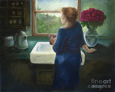 Peace Rose Painting - Morning Coffee by Eve McCauley