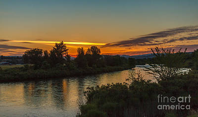 Haybales Photograph - Morning Color Over The Payette River by Robert Bales