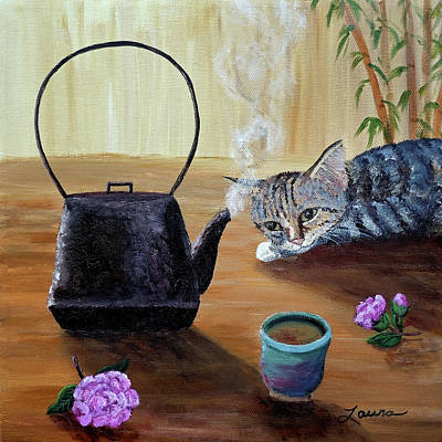 Gray Tabby Painting - Morning Cup Of Tea by Laura Iverson