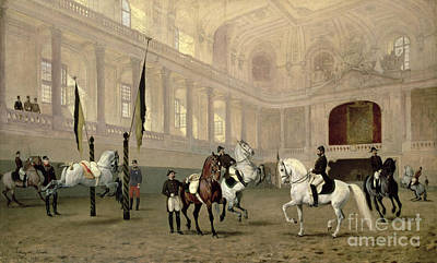 Dressage Painting - Morning Exercise In The Hofreitschule by Julius von Blaas