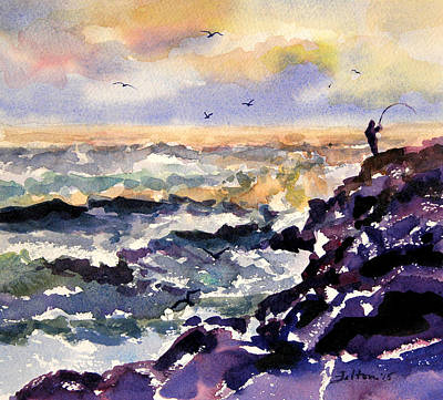 Painting - Morning Fisherman At The Jetty 3-11-15 by Julianne Felton