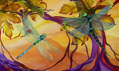 Dragonfly Painting - Morning Flight by Karen Dukes