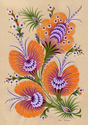 Morning Flowers Print by Olena Kulyk
