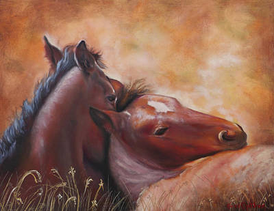 Morning Foals Original by Karen Kennedy Chatham