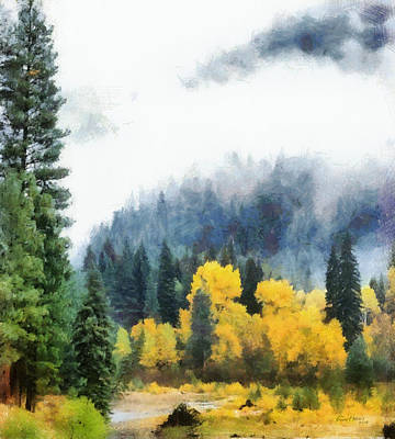 Morning Fog Montana Print by Russ Harris