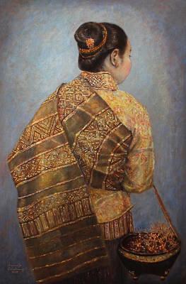 Laos Painting - Morning Glow by Sompaseuth Chounlamany