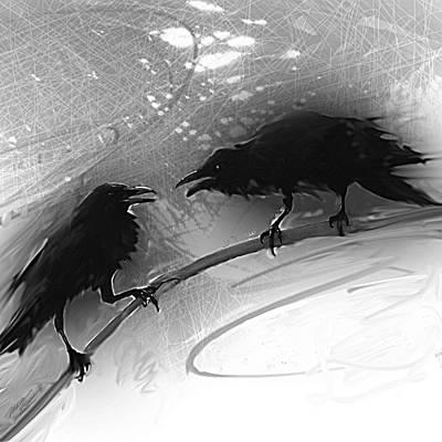 Raven Mixed Media - Morning Has Broken by Maria Eames