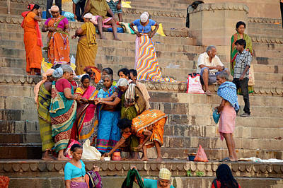 Cremation Ghat Photograph - Morning Ladies Puja by John And Laurel Rodgers