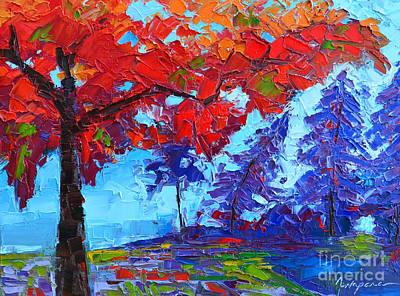 Mist Painting - Morning Mist Landscape - Modern Impressionistic Palette Knife Oil Painting by Patricia Awapara