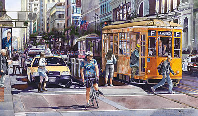 Cab Painting - Morning On Market Street by Mike Hill