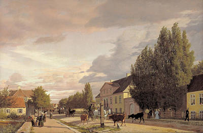 Village People Painting - Morning View Of Osterbro by Christen Schjellerup Kobke