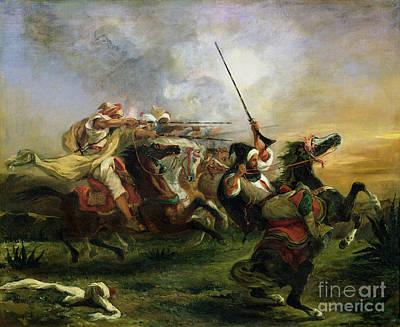 Moroccan Horsemen In Military Print by Eugene Delacroix