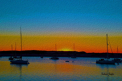 Seascape Digital Painting - Morro Bay Abstract Sunset  by Barbara Snyder