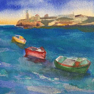 Morro Castle And Three Boats Print by Lynne Bolwell