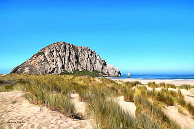 Clear Sky Painting - Morro Rock From The Dunes by Barbara Snyder