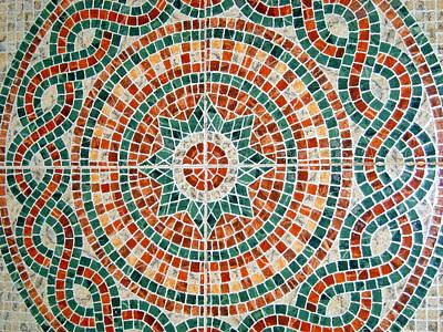 Mosaic Tesserae Tiles Photograph - Mosaic Green And Brown by Jeff Townsend