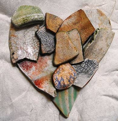 Ceramic Mixed Media - Mosaic Heart On Leather 1 by Adam Riggs
