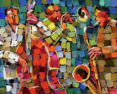 Saxophone Painting - Mosaic Jazz by Debra Hurd