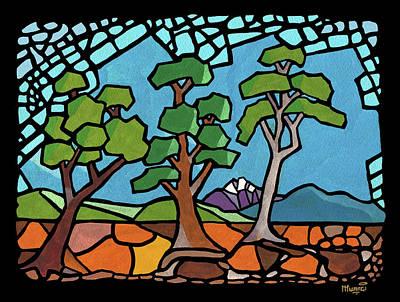 Fruit Tree Art Painting - Mosaic Trees by Anthony Mwangi