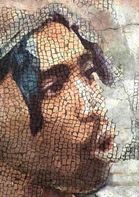 Singer Glass Art - Ancient Rap King Mosaic Tupac  by Jani Heinonen