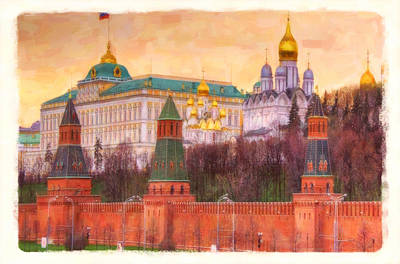 Water Tower Place Painting - Moscow Kremlin  by Lanjee Chee