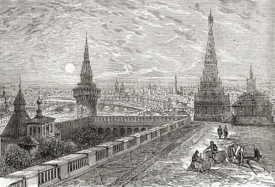 Moscow Drawing - Moscow, Russia In The 19th Century by Vintage Design Pics