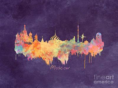 Moscow Skyline Digital Art - Moscow Russia Skyline City by Justyna JBJart
